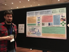 "Derek with poster ""Data Collection Reciprocity as service-in-return"""