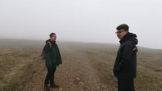Tim and Lauren in the fog, Cape St. Mary's