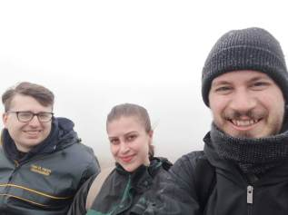 Us in the fog, no filter. Cape St. Mary's